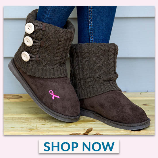 Pink Ribbon Mid Rise Knit Boots - Shop Now