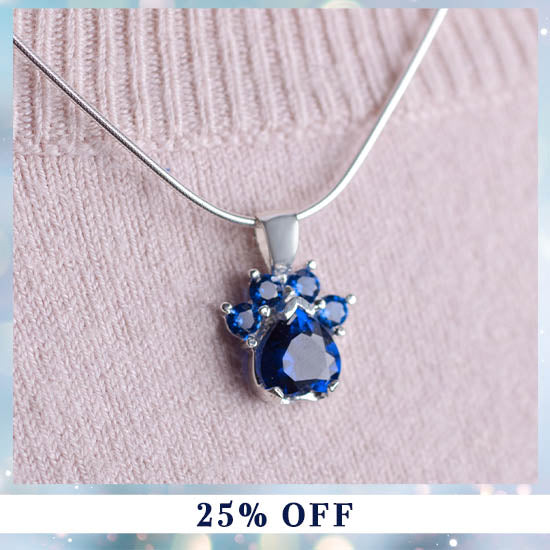 Paw Print Birthstone Sterling Necklace - 25% OFF
