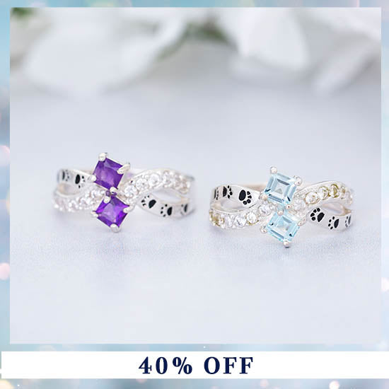 Infinity Paws Sterling & Gemstone Ring - 40% OFF