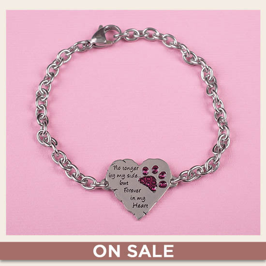 Forever In My Heart Paw Print Remembrance Bracelet - On Sale
