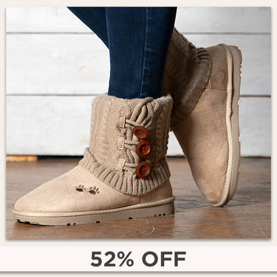 Paw Print Mid Rise Knit Boots - 52% OFF