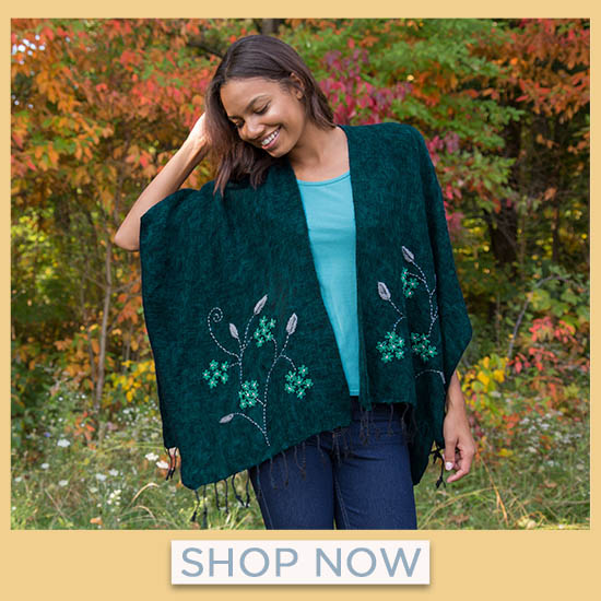Embroidered Floral Wrap - Shop Now