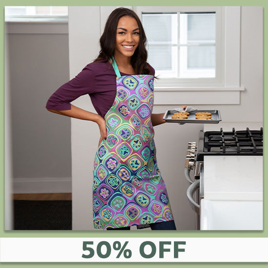 Kaleidoscope of Paws Kitchen Apron - 50% OFF