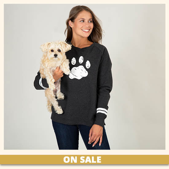 Distressed Paw Stripe Sweatshirt - On Sale