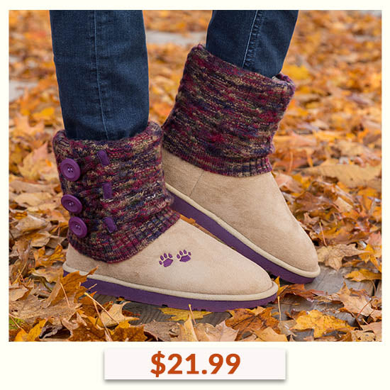 Purple Paw Multicolored Knit Mid Rise Boots - $21.99
