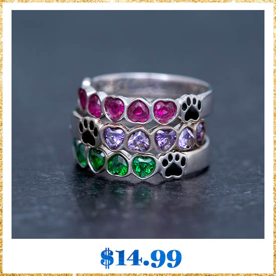 Sterling Stackable Paw Print Birthstone Ring - $14.99