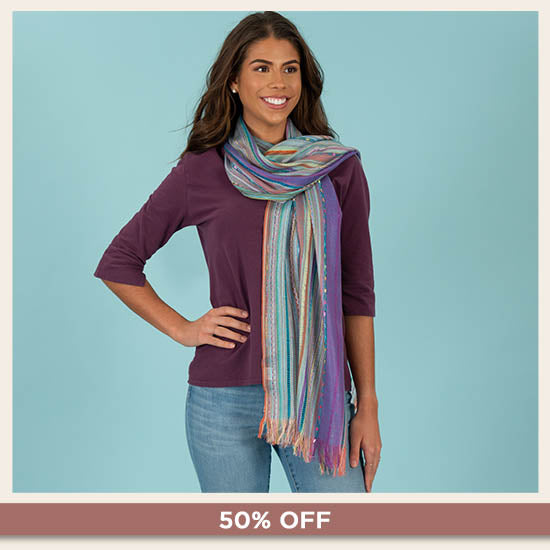 Color Celebration Woven Scarf - 50% OFF