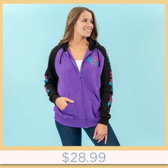 Flowers & Paws Two-Toned Zip Hoodie - $28.99