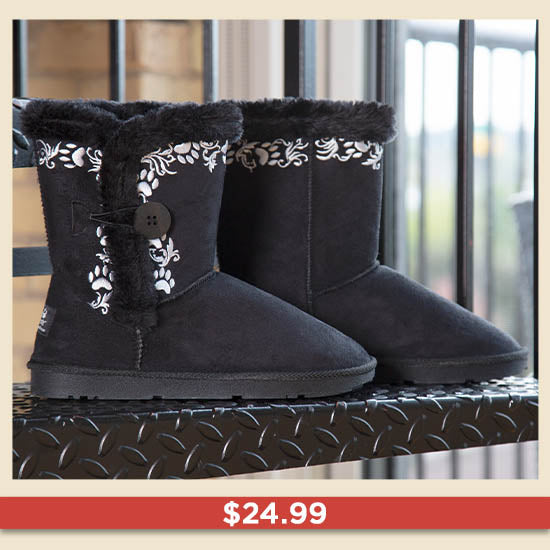 Swirling Vine Paw Print Boots - $24.99