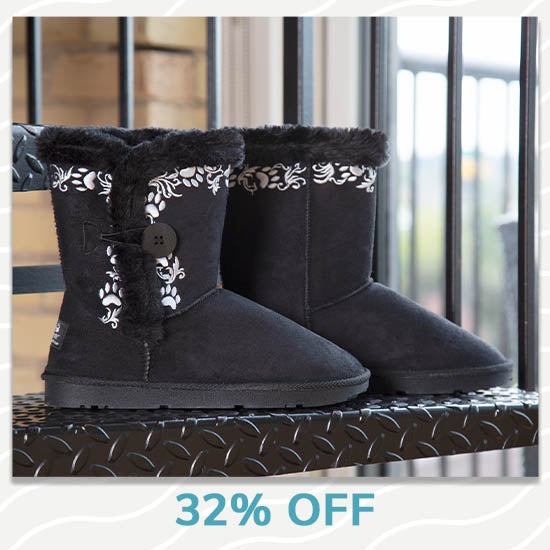 Swirling Vine Paw Print Boots - 32% OFF