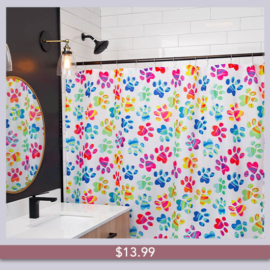 Painted Paws Shower Curtain - $13.99