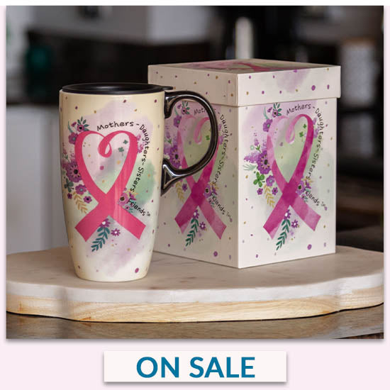 Pink Ribbon Gift Boxed Travel Mug - On Sale