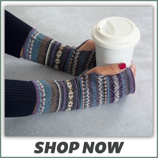 Peruvian Alpaca Wool Fingerless Mittens - Shop Now