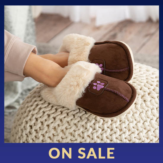 Paw Print Faux Fur Slide Slippers - On Sale
