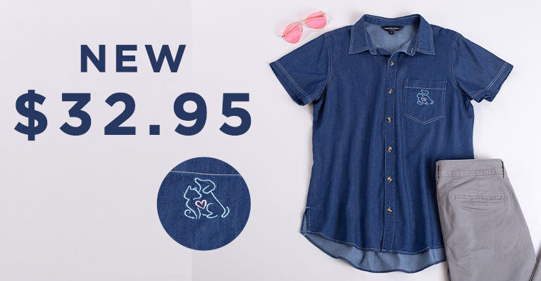 Paw Print Denim Short Sleeve Camp Shirt