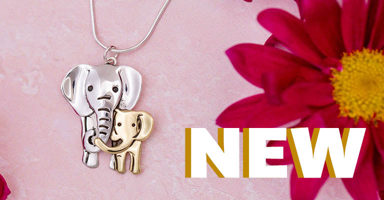 Elephant Parent & Baby Mixed Metal Necklace | New!
