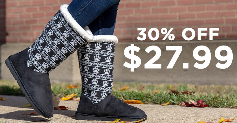 Paw Print Knit Boots | 30% OFF | $27.99