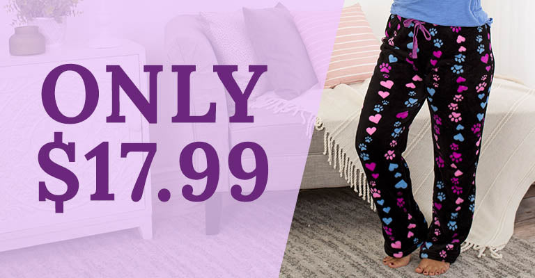 Paws & Hearts Plush Lounge Pants | Only $17.99