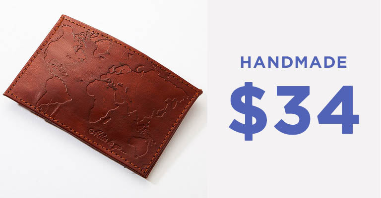 Miles To Go Compact Leather Wallet | Handmade | $34