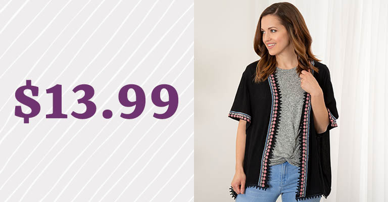 Midnight Muse Open-Front Cardigan | $13.99