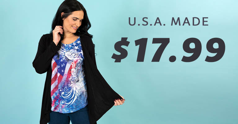 American Flag Roses Cardigan Top | U.S.A. Made | $17.99