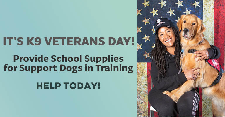It's K9 Veterans Day! | Provide School Supplies for Support Dogs in Training