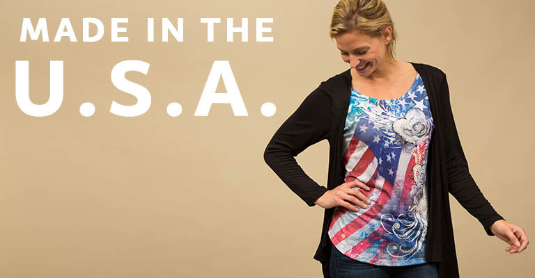 American Flag Roses Cardigan Top   Made in the U.S.A.