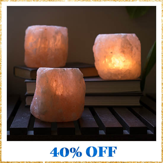 Himalayan Natural Salt Crystal Candle Holder - 40% OFF