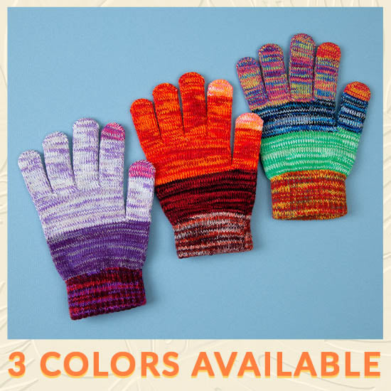 Rainbow Delight Touch Screen Gloves - 3 Colors Available