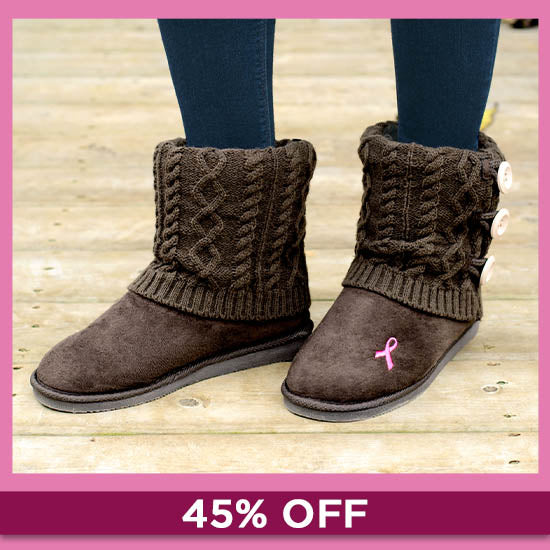 Pink Ribbon Mid Rise Knit Boots - 45% OFF