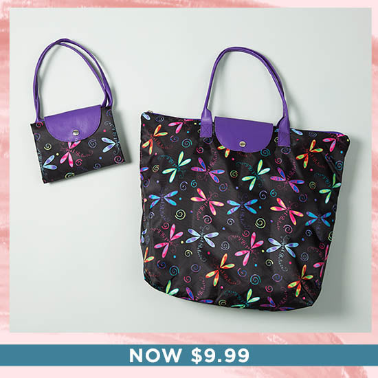 Just Believe Dragonfly Fold-up Tote Bag - Now $9.99