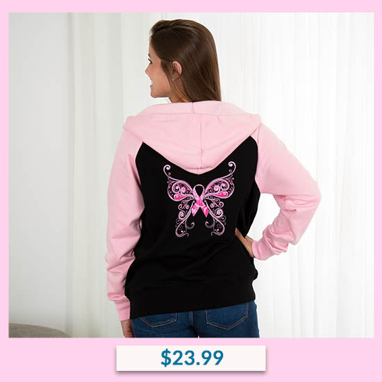 Pink Ribbon Butterfly Two-Toned Zip Hoodie - $23.99