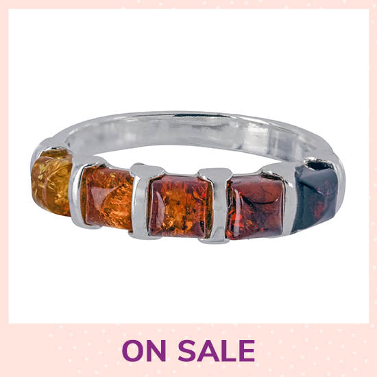 Amber Ombre & Sterling Ring - On Sale