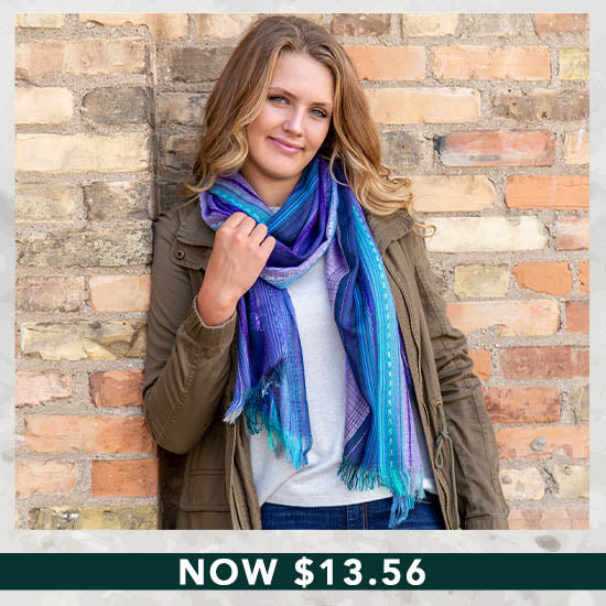 Sky Colors Hand-Loomed Scarf - Now $13.56