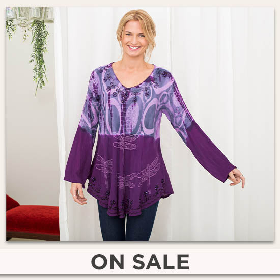 Darting Dragonfly Long Sleeve Tunic - On Sale