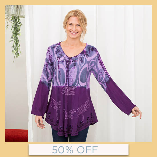 Darting Dragonfly Long Sleeve Tunic - 50% OFF