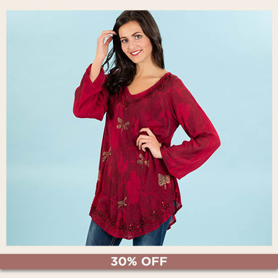 Scarlet Dragonfly Long Sleeve Tunic - 30% OFF