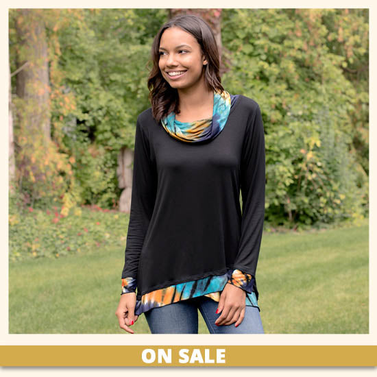Touch of Tie-Dye Draped Neck Tunic - On Sale