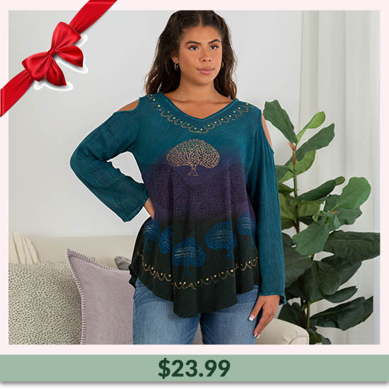 Deep Forest Long Sleeve Cold Shoulder Tunic - $23.99