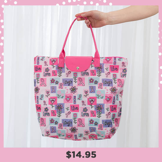 Pink Ribbon Live Laugh Love Breast Cancer Tote - $14.95