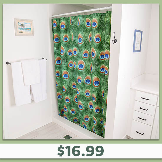 Emerald Peacock Shower Curtain - $16.99