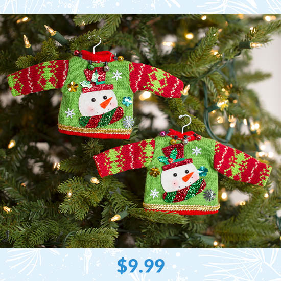 Holiday Ugly Sweater Ornament Set - $9.99