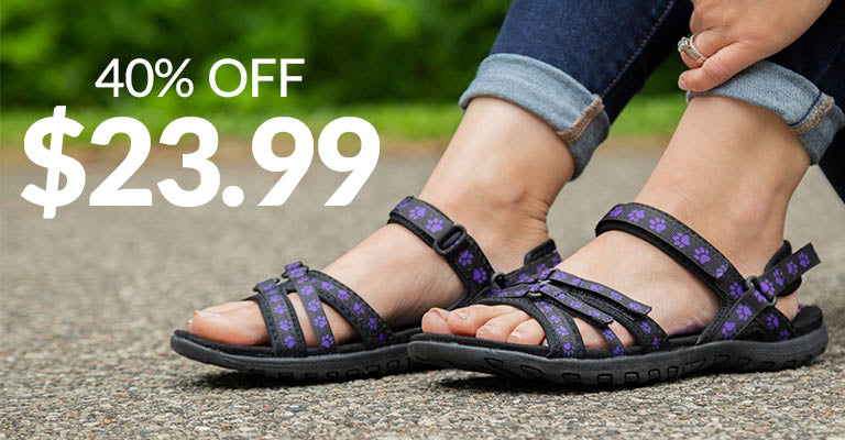 Ultralite™ Purple Paw Strappy Sport Sandals | 40% OFF | $23.99
