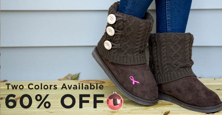 Pink Ribbon Mid Rise Knit Boots | 60% OFF | Two Colors Available