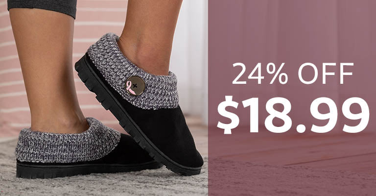 Pink Ribbon Comfy Clog Slippers | $18.99 | 24% OFF
