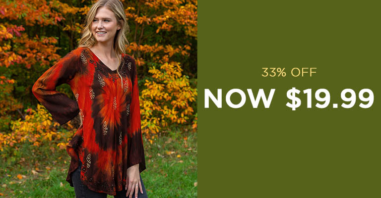 Ring of Fire Long Sleeve Tunic | Now $19.99 | 33% OFF