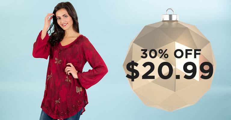 Scarlet Dragonfly Long Sleeve Tunic | 30% OFF | $20.99