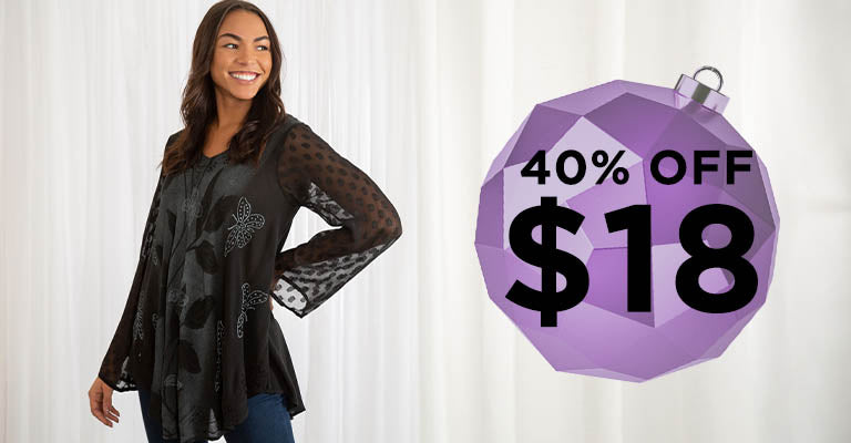 Midnight Butterfly Long Sleeve Tunic | $18 | 40% OFF
