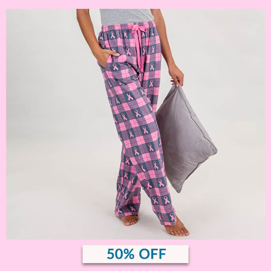 Pink Ribbon Flannel Lounge Pants - 50% OFF