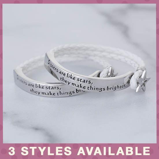 Sisters Are Like Stars Braided Bracelet - 3 Styles Available